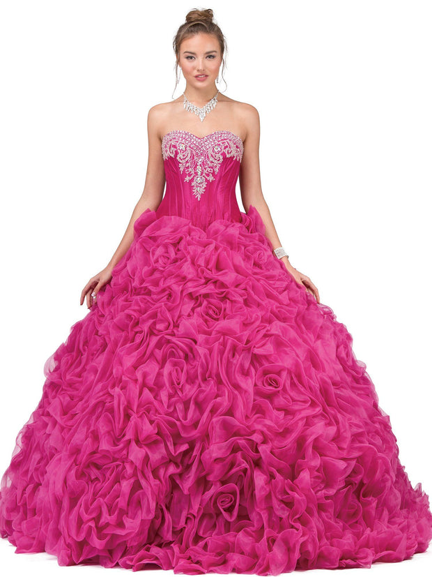 Fuchsia Strapless Ruffled Ball Gown by Dancing Queen 8650-Quinceanera Dresses-ABC Fashion