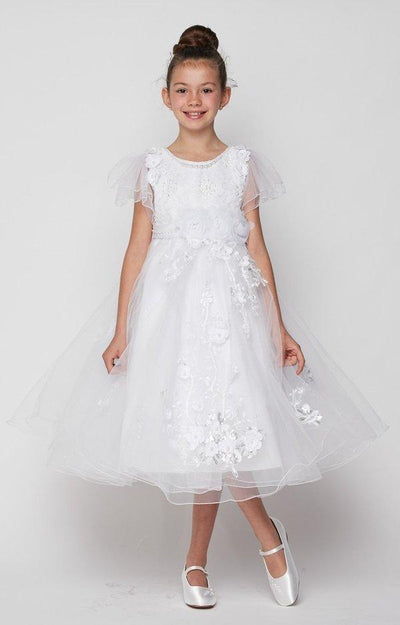 Girls 3D Applique Dress with Short Sleeves by Cinderella Couture 2905-Girls Formal Dresses-ABC Fashion