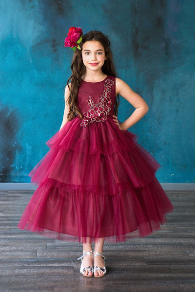 Girls 3D Applique Long Layered Dress by Calla D795