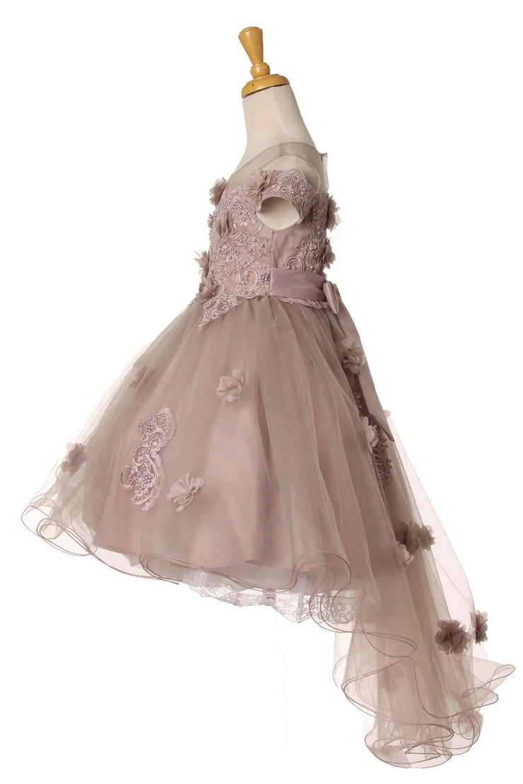 Girls 3D Floral High Low Dress by Cinderella Couture 9119