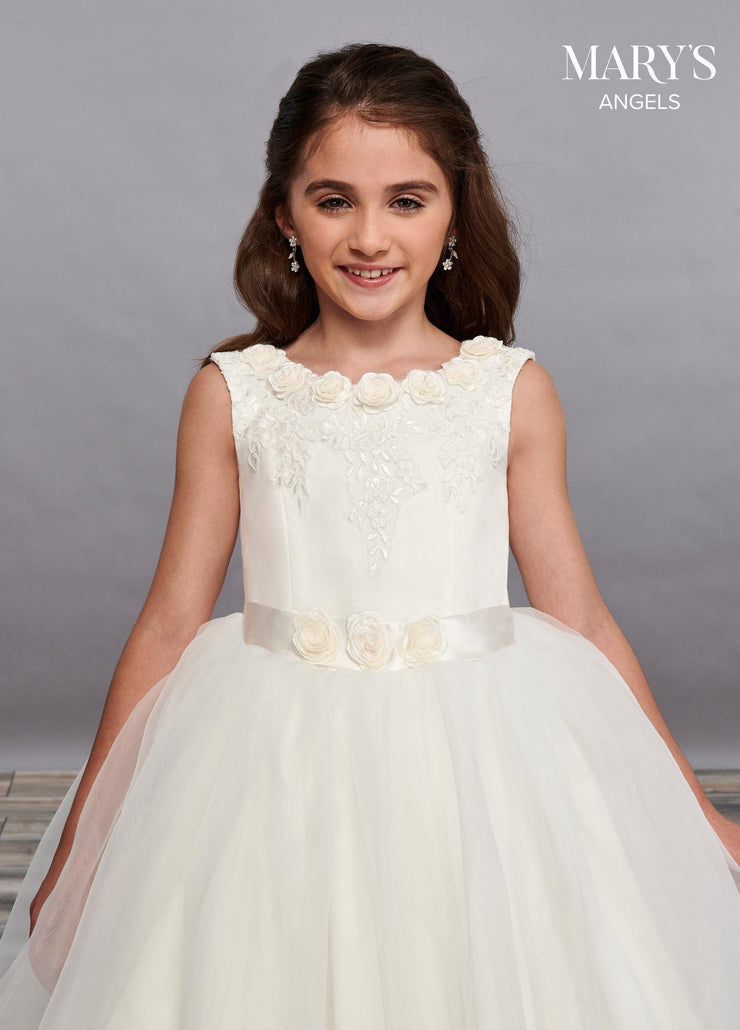 Girls 3D Floral Long Sleeveless Dress by Mary's Bridal MB9063-Girls Formal Dresses-ABC Fashion