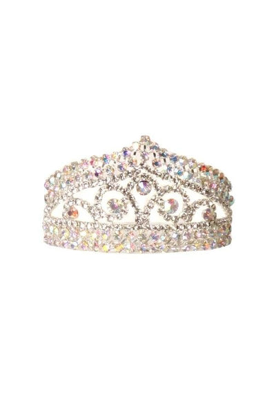 Girls AB Rhinestone Mini Silver Tiara with Comb