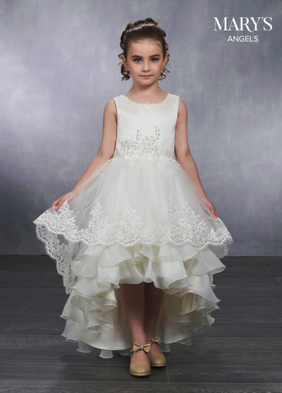 Girls Applique High Low Dress by Mary's Bridal MB9030