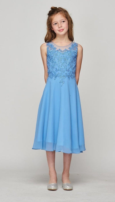 Girls Applique Tea Length Dress by Cinderella Couture 5089