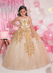 Girls Beaded Green Glitter Ball Gown by Ragazza Kids N16-716