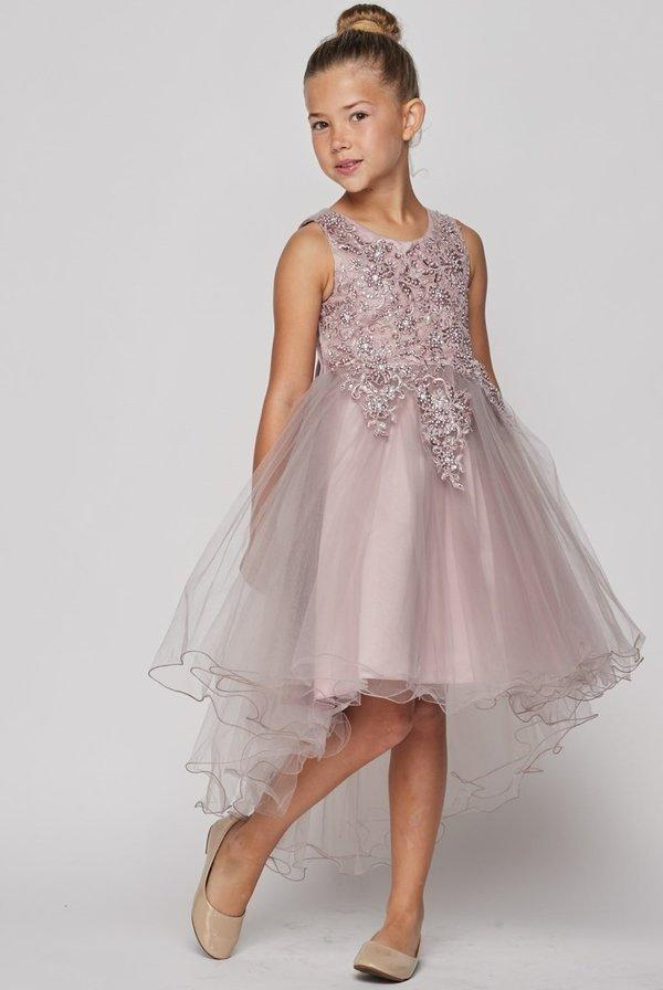 Girls Beaded High Low Tulle Dress by Cinderella Couture 9086-Girls Formal Dresses-ABC Fashion