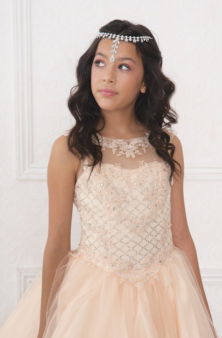 Girls Beaded Illusion A-line Dress by Calla SY121-Girls Formal Dresses-ABC Fashion