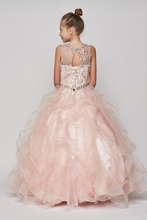 Girls Beaded Illusion Ball Gown with Layered Skirt-Girls Formal Dresses-ABC Fashion