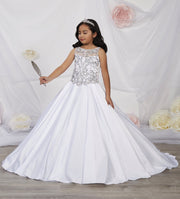 Girls Beaded Illusion Satin Dress by Tiffany Princess 13536-Girls Formal Dresses-ABC Fashion