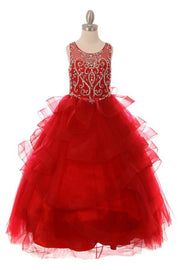 Girls Beaded Illusion Sleeveless Ball Gown with Layered Skirt-Girls Formal Dresses-ABC Fashion