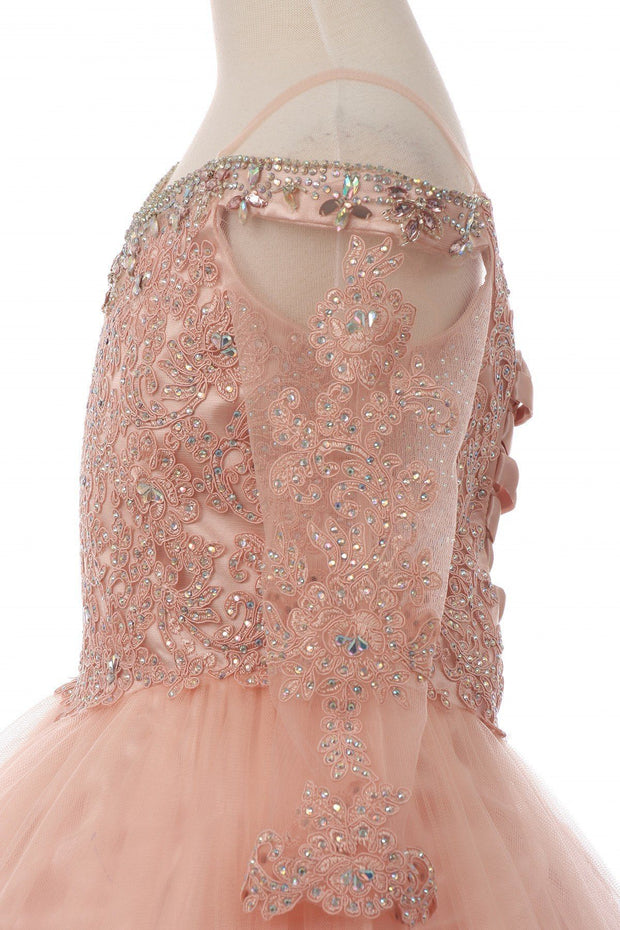 Girls Beaded Lace Off Shoulder Ball Gown with Sleeves-Girls Formal Dresses-ABC Fashion