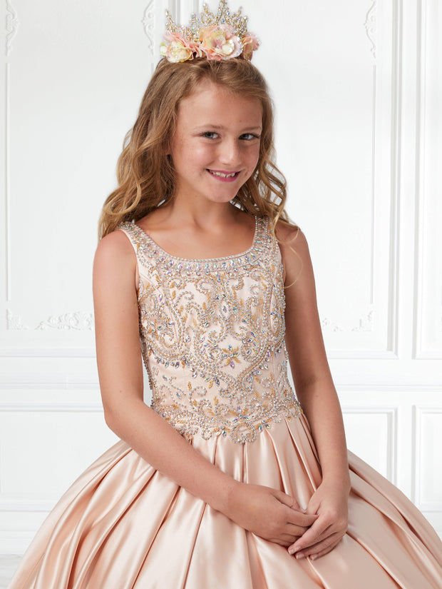 Girls Beaded Long Box Pleated Satin Dress by Tiffany Princess 13591-Girls Formal Dresses-ABC Fashion