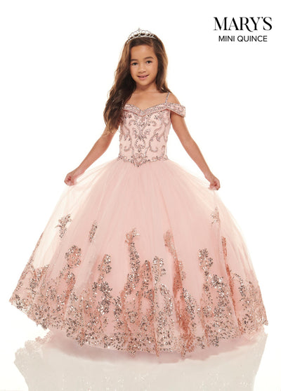 Girls Beaded Long Cold Shoulder Dress by Mary's Bridal MQ4024