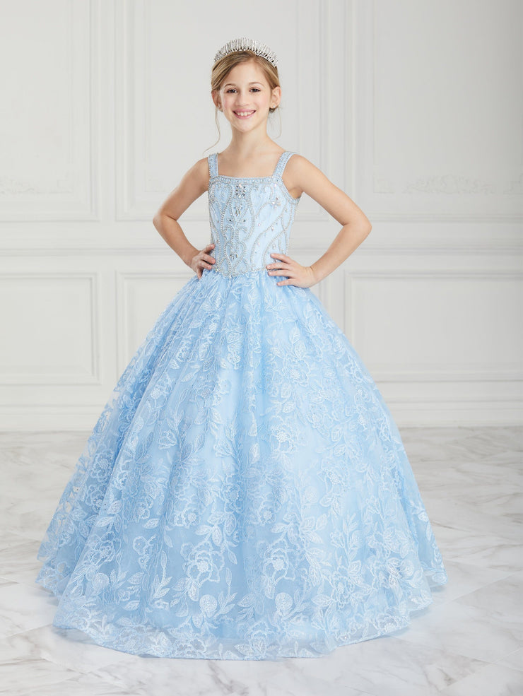 Girls Beaded Long Floral Lace Dress by Tiffany Princess 13616