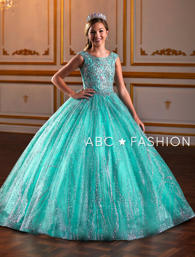 Girls Beaded Long Glitter Dress by Tiffany Princess 13575-Girls Formal Dresses-ABC Fashion