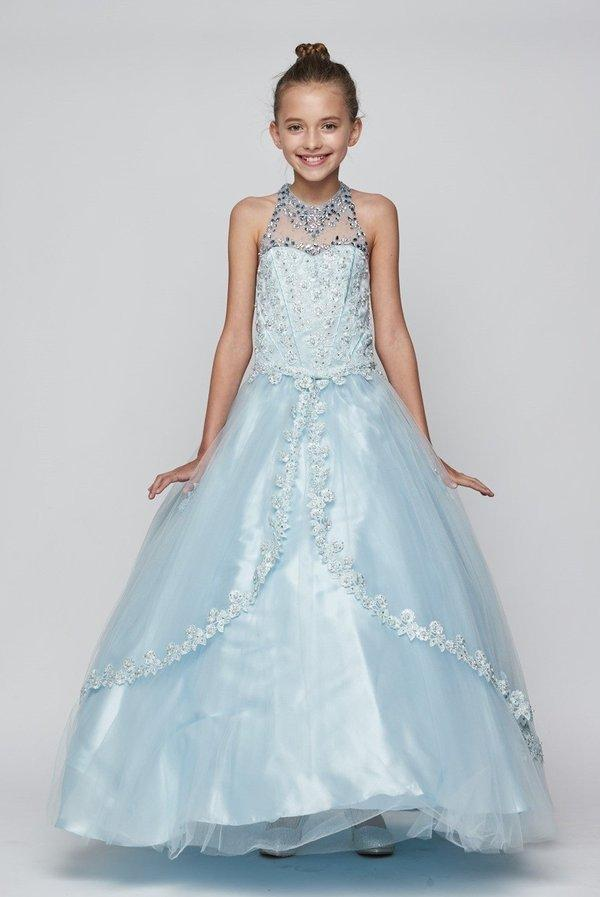 Girls Beaded Long Halter Tulle Dress by Cinderella Couture 5060-Girls Formal Dresses-ABC Fashion