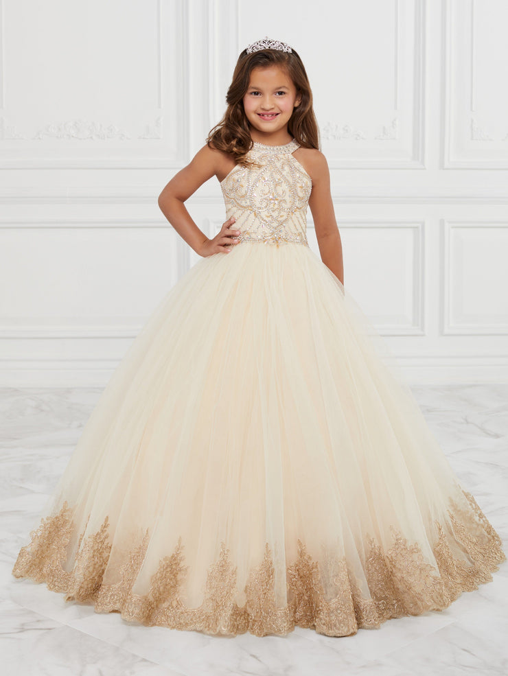 Girls Beaded Long Halter Tulle Dress by Mini Quince 26881MQ-Girls Formal Dresses-ABC Fashion