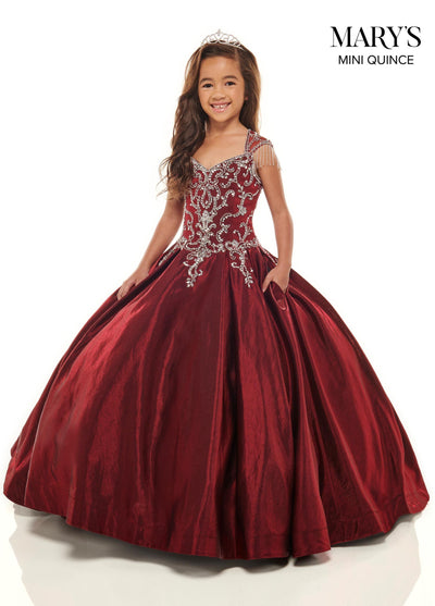 Girls Beaded Long Satin Cap Sleeve Dress by Mary's Bridal MQ4022