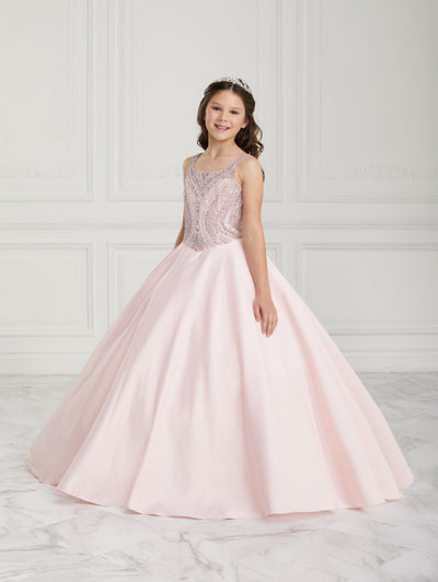 Girls Beaded Long Satin Dress by Tiffany Princess 13612