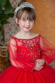 Girls Beaded Long Sleeve Ball Gown by Calla KY225