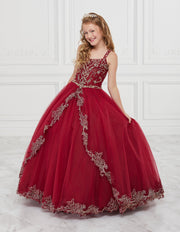 Girls Beaded Long Split Front Dress by Tiffany Princess 13600-Girls Formal Dresses-ABC Fashion