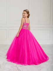 Girls Beaded Long Tulle Dress by Tiffany Princess 13613