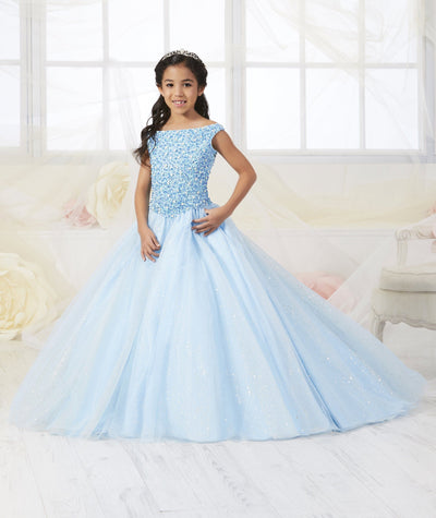 Girls Beaded Off The Shoulder Dress by Tiffany Princess 13547-Girls Formal Dresses-ABC Fashion