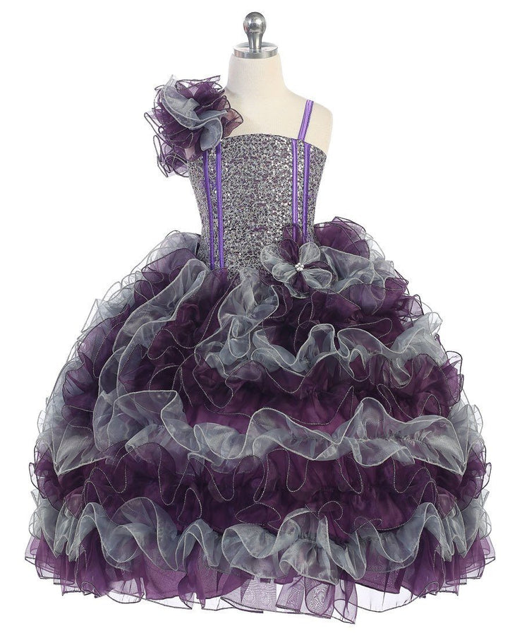 Girls Beaded One Shoulder Dress with Ruffled Skirt-Girls Formal Dresses-ABC Fashion
