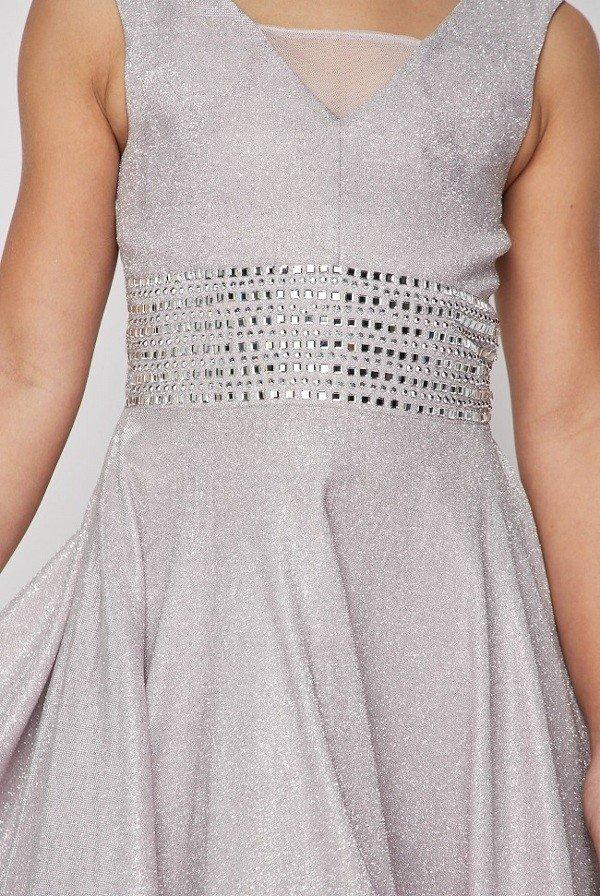 Girls Beaded Short Metallic Dress by Cinderella Couture 5070-Girls Formal Dresses-ABC Fashion