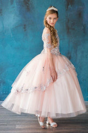 Girls Bell Sleeve Off Shoulder Ball Gown by Calla SY143