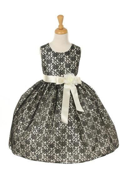 Girls Black Raschel Lace Tea Length Dress with Flower Sash-Girls Formal Dresses-ABC Fashion
