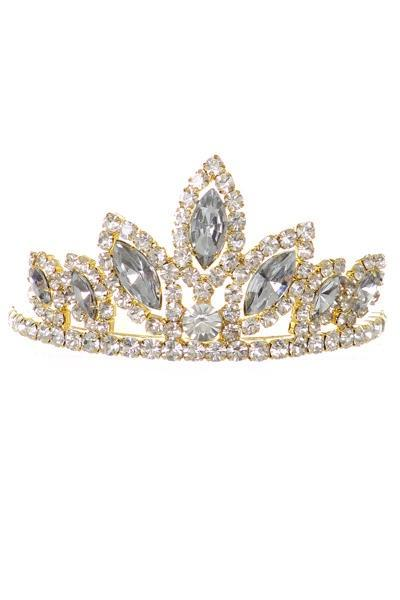 Girls Black Stone Mini Silver Tiara with Comb