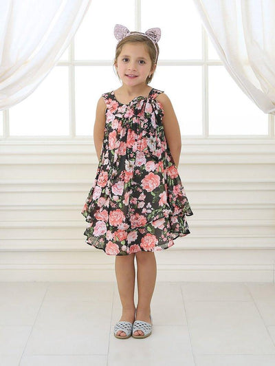 Girls Black/Pink Short Chiffon Floral Print Dress by Calla C621-Girls Formal Dresses-ABC Fashion