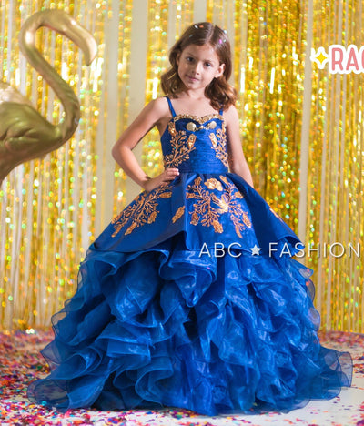 Girls Blue Ruffled Charro Ball Gown by Ragazza Kids N06-706