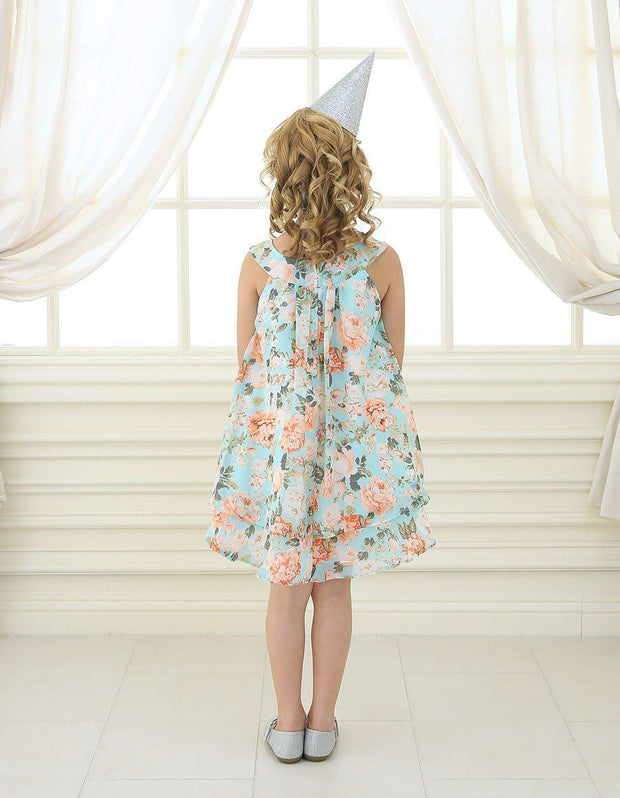 Girls Blue/Pink Short Chiffon Floral Print Dress by Calla C621-Girls Formal Dresses-ABC Fashion