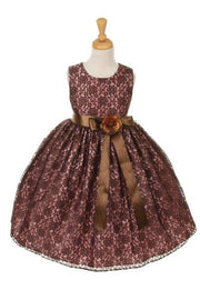 Girls Brown Raschel Lace Tea Length Dress with Flower Sash-Girls Formal Dresses-ABC Fashion
