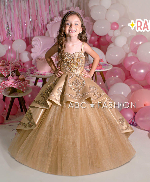 Girls Burgundy Mikado Ball Gown by Ragazza Kids N01-701