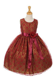 Girls Burgundy Raschel Lace Tea Length Dress with Flower Sash-Girls Formal Dresses-ABC Fashion