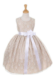 Girls Champagne Raschel Lace Tea Length Dress with Sash-Girls Formal Dresses-ABC Fashion