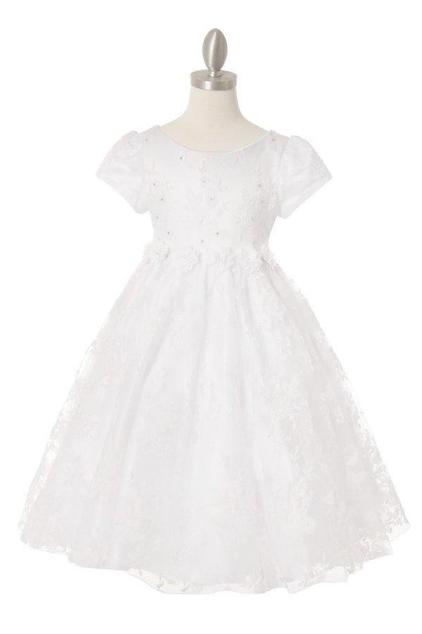 Girls Chantilly Lace Dress with Short Sleeves by Cinderella Couture 9078-Girls Formal Dresses-ABC Fashion