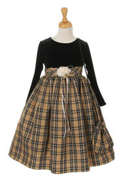 Girls Checkered Dress with Velvet Long Sleeves by Cinderella Couture ME250-Girls Formal Dresses-ABC Fashion