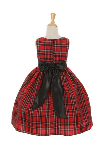 Girls Checkered Plaid Dress with Sash by Cinderella Couture 1168-Girls Formal Dresses-ABC Fashion