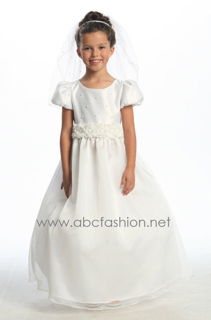 Girls Communion Dress with Floral Decors-Girls Formal Dresses-ABC Fashion