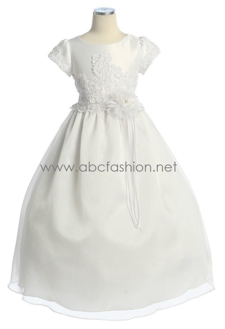 Girls Communion Dress with Floral Embroidered Bodice-Girls Formal Dresses-ABC Fashion