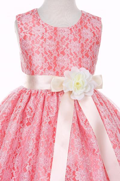 Girls Coral Raschel Lace Tea Length Dress with Sash-Girls Formal Dresses-ABC Fashion