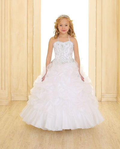 Girls Crystal Beaded Sleeveless Dress with Pick-Up Skirt-Girls Formal Dresses-ABC Fashion