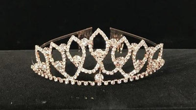 Girls Dazzling Rose Gold Tiara with Comb