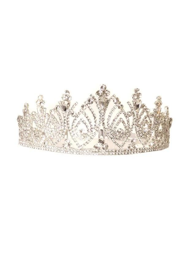Girls Elegant Rhinestone Silver Tiara with Comb