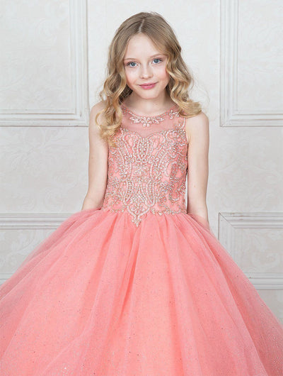 Girls Embellished Illusion Ball Gown with Glitter Skirt by Calla KY205-Girls Formal Dresses-ABC Fashion