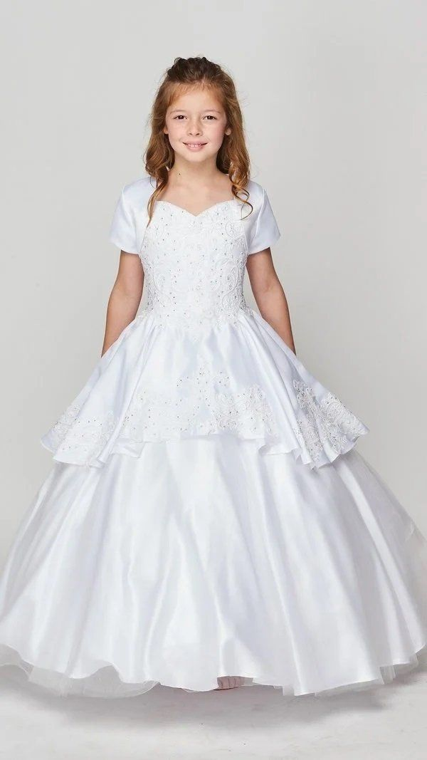 Girls Embroidered Ball Gown with Detachable Skirt